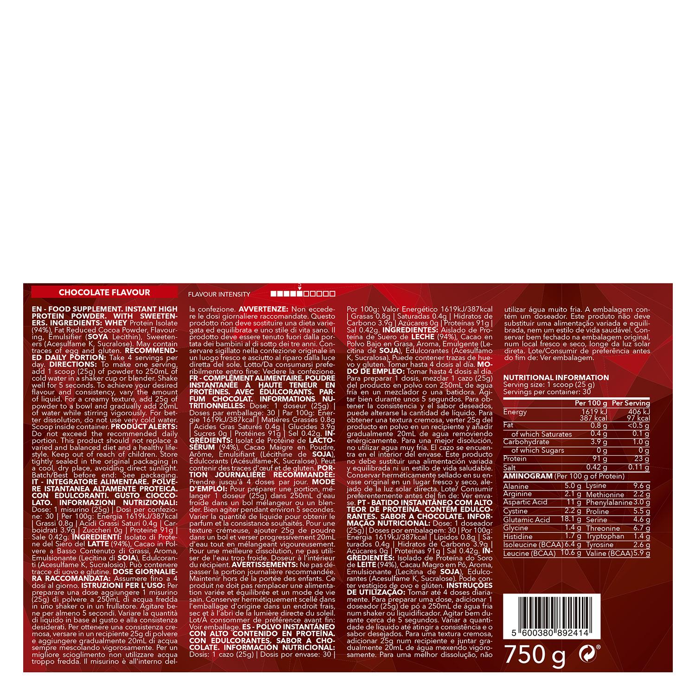 Complemento alimenticio Prozis Whey Isolate zero sabor chocolate 750 g. - 2