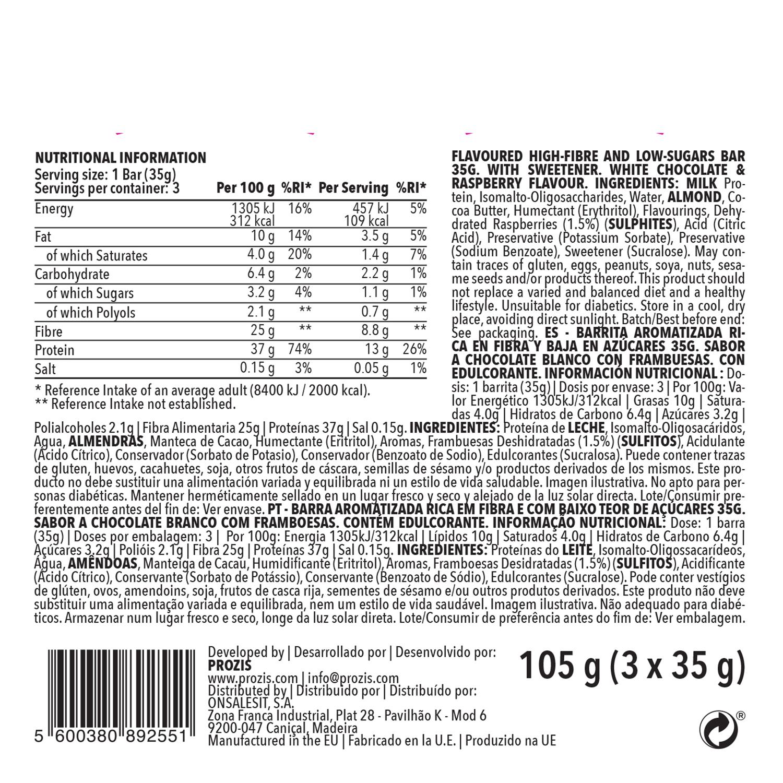 Barrita saciante Prozis sabor chocolate blanco y frambuesa pack de3 barritas de 35 g. -