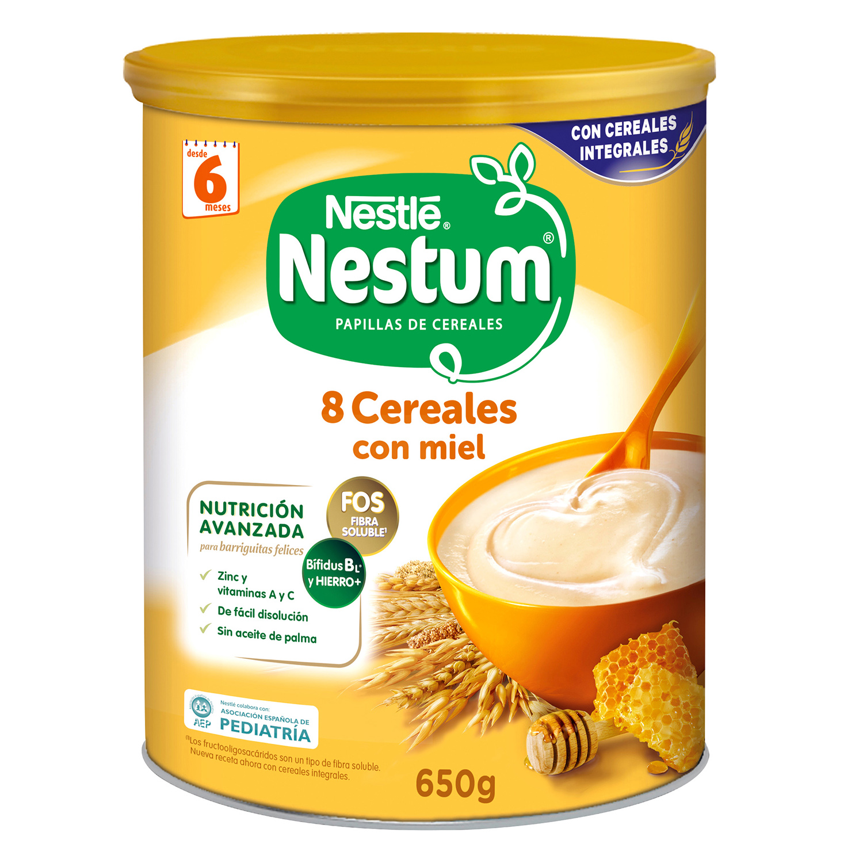 Papilla infantil desde 6 meses de 8 cereales integrales con miel sin azúcar añadido Nestlé Nestum sin aceite de palma 650 g.
