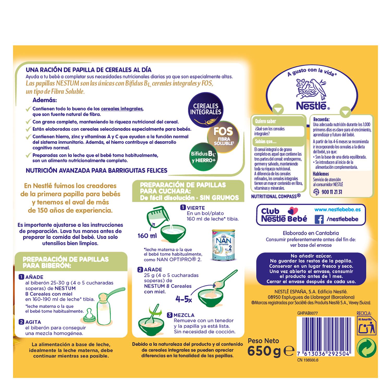 Papilla infantil desde 6 meses de 8 cereales integrales con miel sin azúcar añadido Nestlé Nestum sin aceite de palma 650 g. -