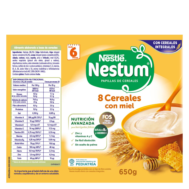 Papilla infantil desde 6 meses de 8 cereales integrales con miel sin azúcar añadido Nestlé Nestum sin aceite de palma 650 g. - 2