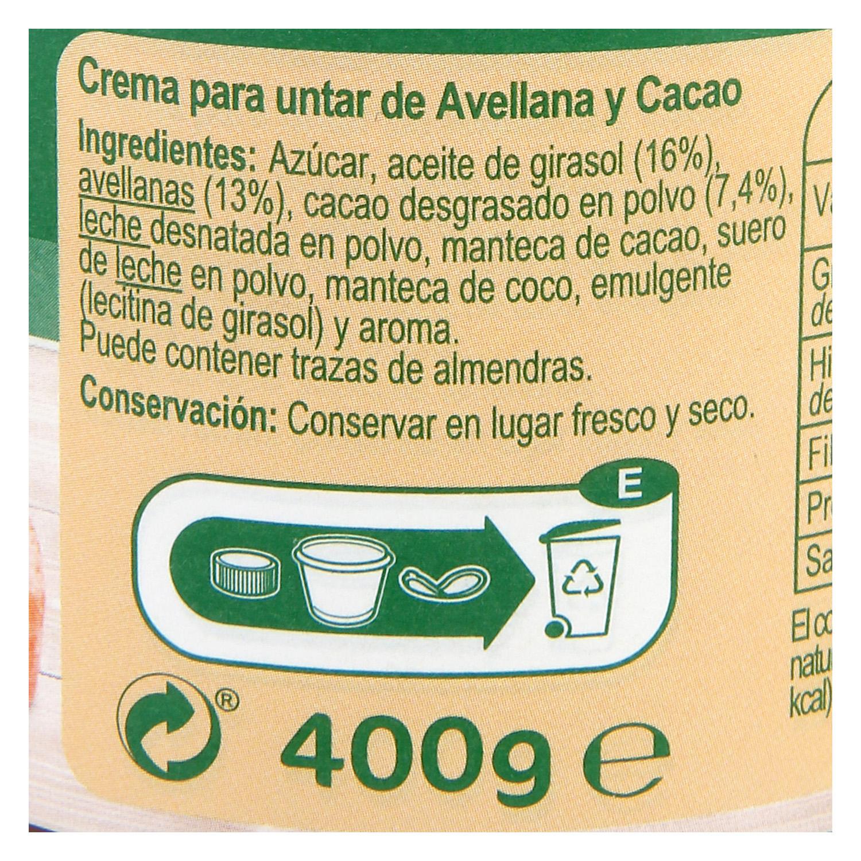 Crema de avellanas con cacao Carrefour 400 g. -