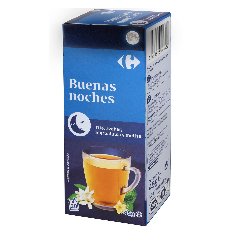 Infusión Buenas Noches con tila, azahar, hierbaluisa y melisa en bolsitas Carrefour 30 ud.