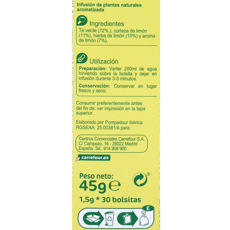 Té verde con limón en bolsitas Carrefour 30 ud. -