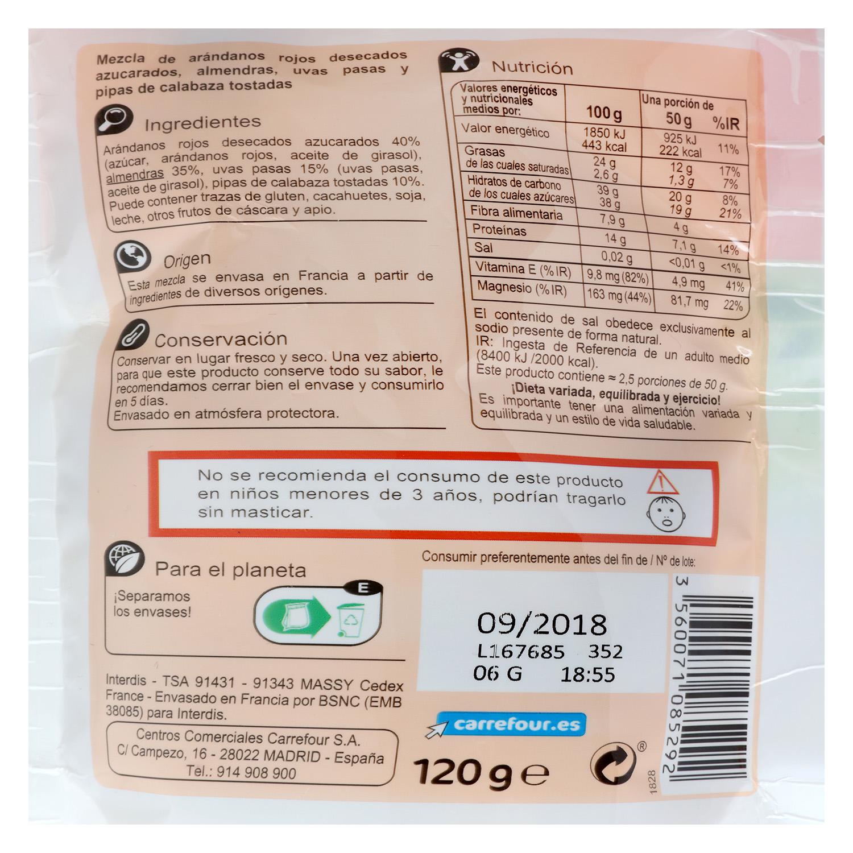 Cocktail de frutos secos Vitaminada Carrefour 120 g. -