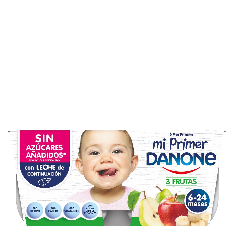 Yogur tres frutas con leche adaptada -