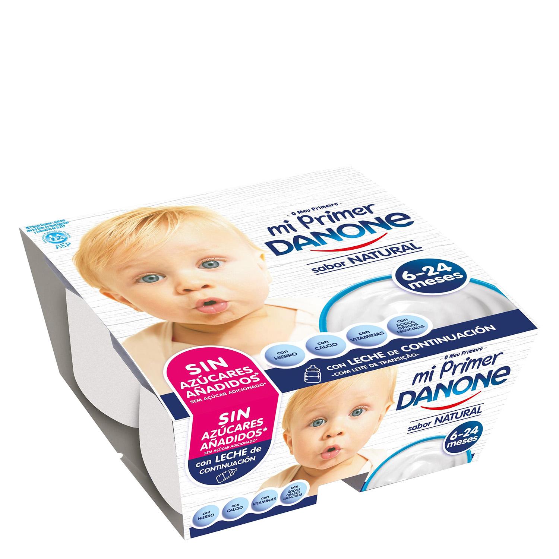 Yogur natural azucarado con leche adaptada Mi primer Danone pack de 4 unidades de 100 g.
