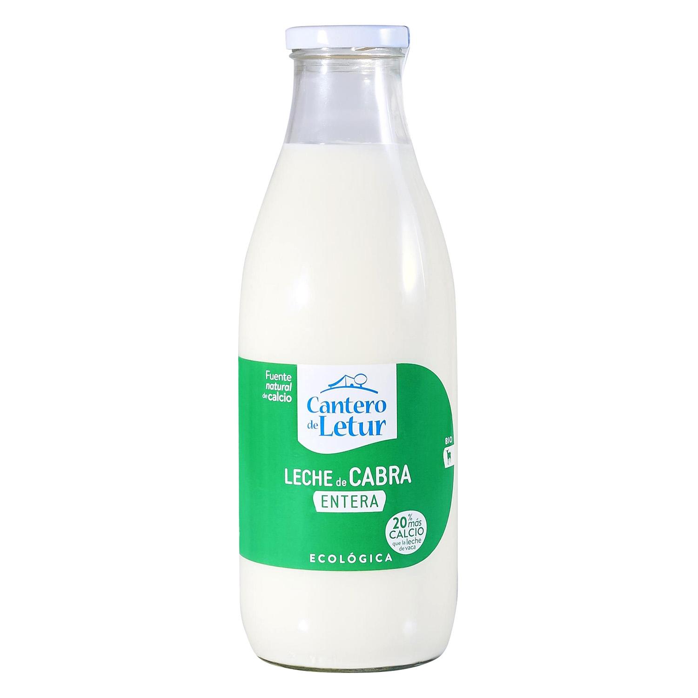 Leche entera de cabra ecológica Cantero de Letur botella de vidrio 1 l.