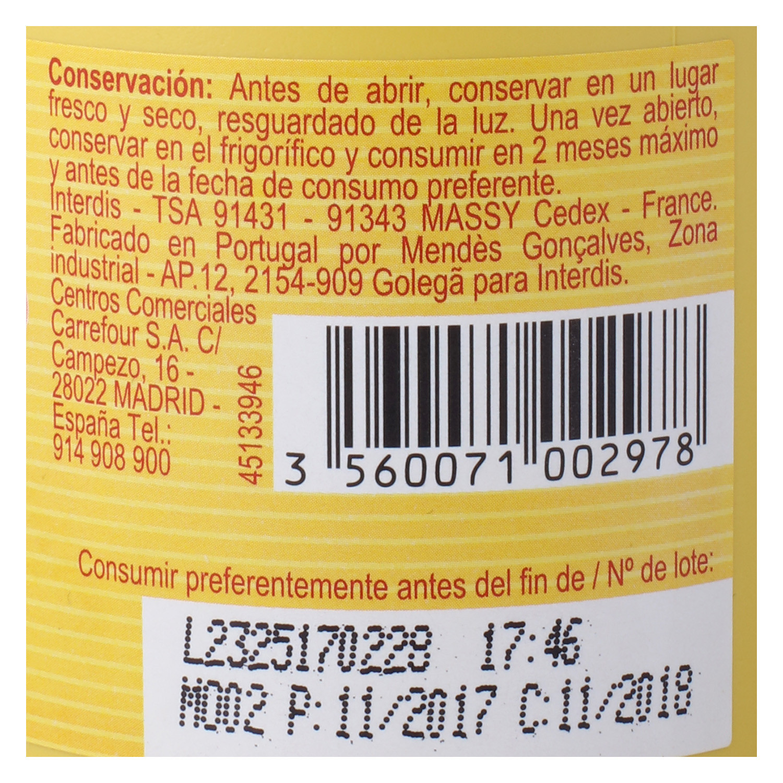 Mostaza Carrefour envase 250 g, - 2