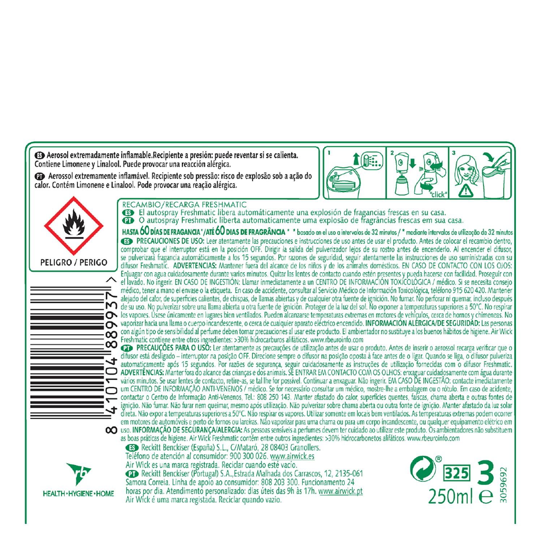 Ambientador Automático Recambio Fresh Matic Pure Aceites esenciales Naranja -