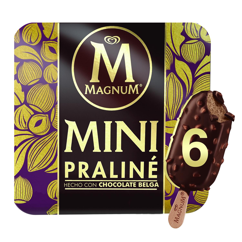 Helado mini praliné con chocolate belga