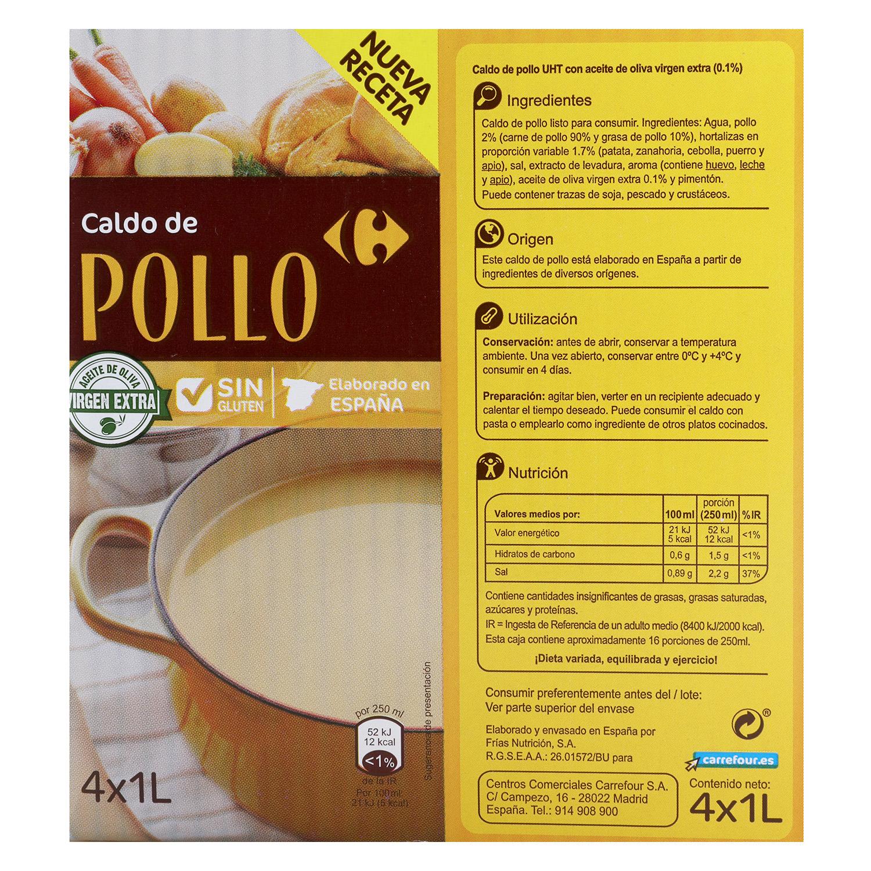 Caldo de pollo Carrefour sin gluten pack de 4 briks de 1 l. -