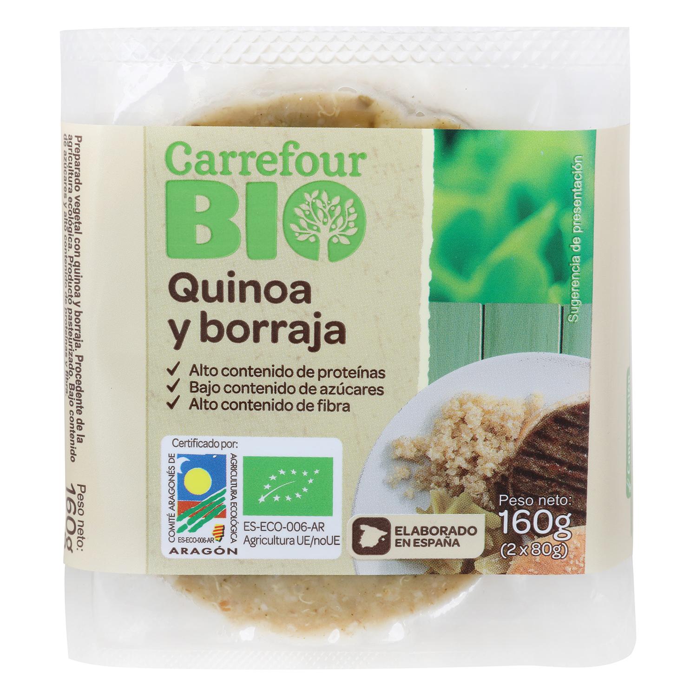 Hamburguesa de quinoa y borraja ecológica Carrefour Bio 160 g.