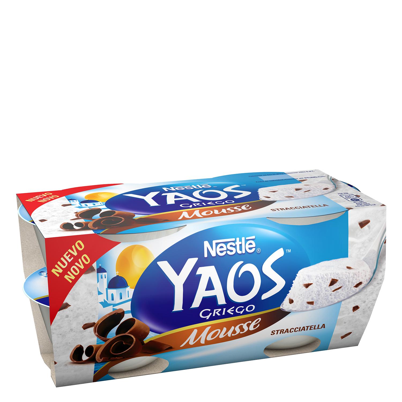 Mousse de yogur griego stracciatella