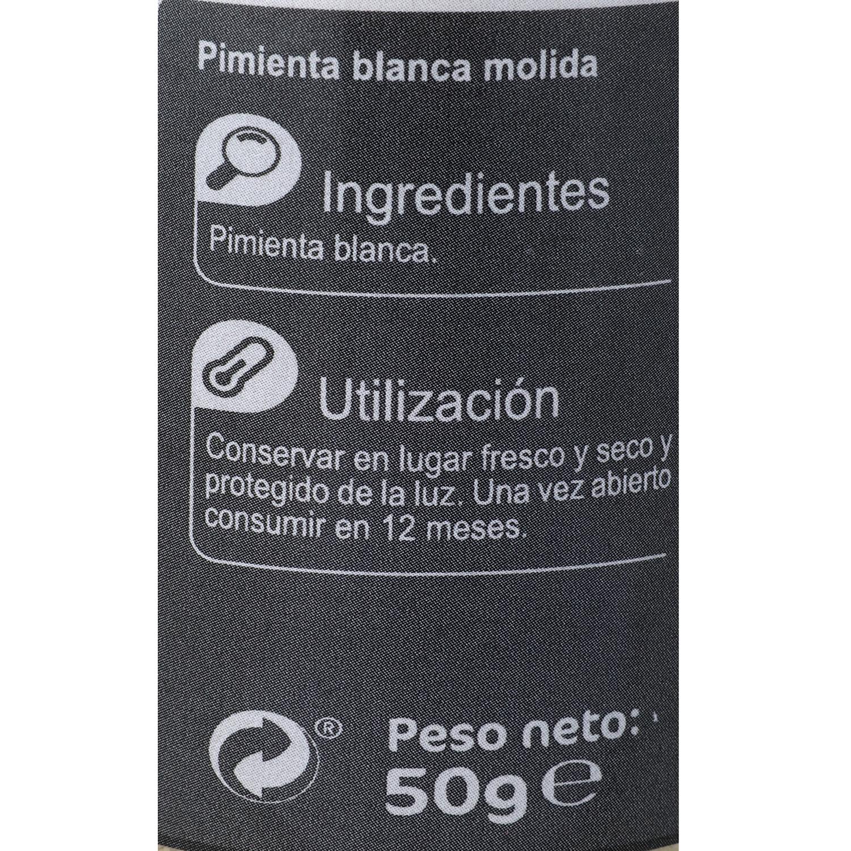 Pimienta blanca molida Carrefour 50 g. -