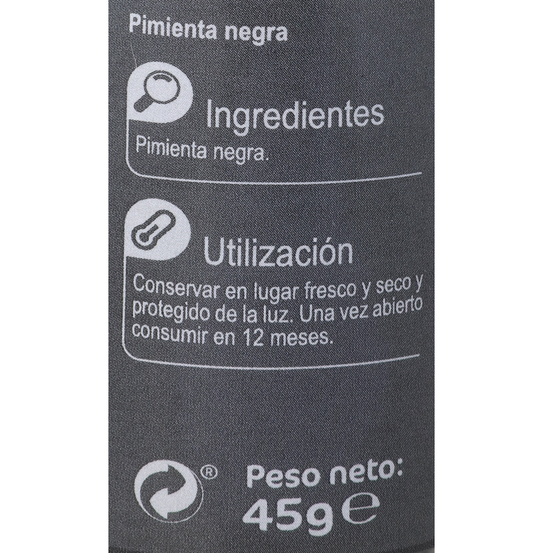 Molinillo pimienta negra en grano Carrefour 45 g. -