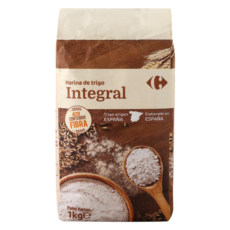 Harina de trigo Carrefour integral 1 kg.