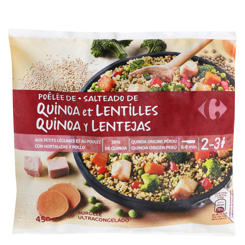 Salteado de quinoa y lentejas con verduras y pollo