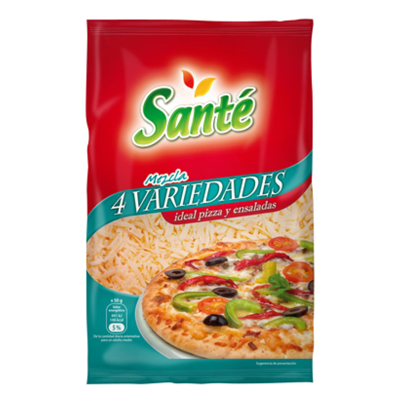 Queso mezcla rallado ideal pizza y ensaladas Santé 150 g.