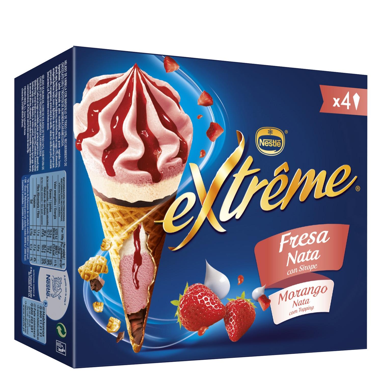 Cono de fresa y nata Extreme Nestlé Helados - Extrême - Carrefour ...