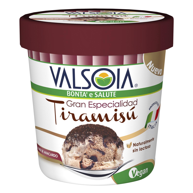 Helado de tiramisú Valsoia sin lactosa 210 g.
