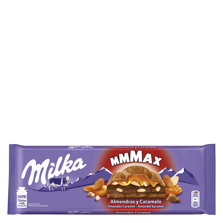 Chocolate relleno de caramelo y almendras Milka 300 g.