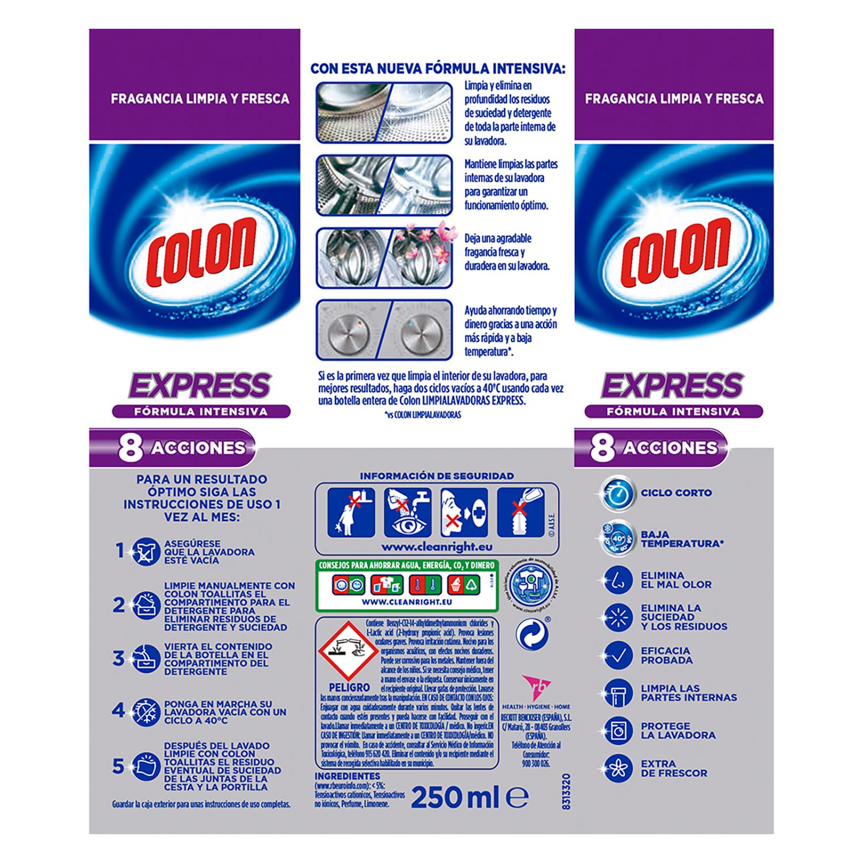 Limpia lavadoras Express Colon 250 ml. -