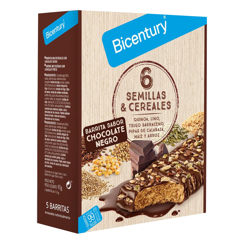 Barritas de cereales con chocolate negro y seis semillas Bicentury 78 g.