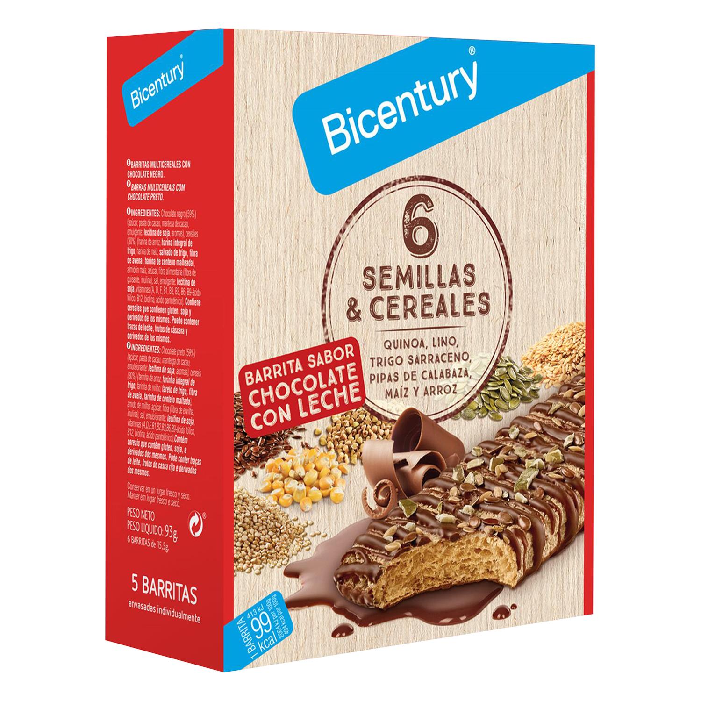 Barritas de cereales con chocolate con leche y seis semillas Bicentury 78 g.