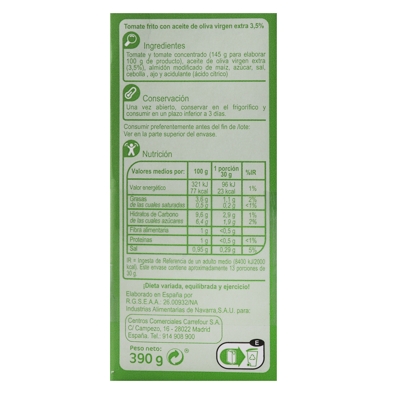 Tomate frito con aceite de oliva virgen extra Carrefour pack de 3 briks de 390 g. -