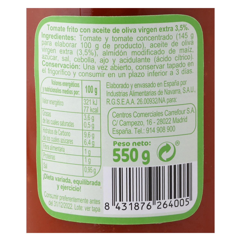 Tomate frito con aceite de oliva virgen extra Carrefour tarro 550 g. -