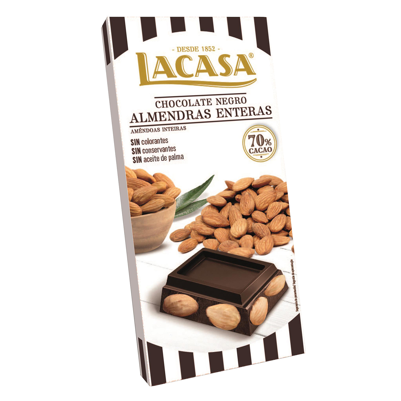 Chocolate negro 70% con almendras enteras Lacasa 200 g.