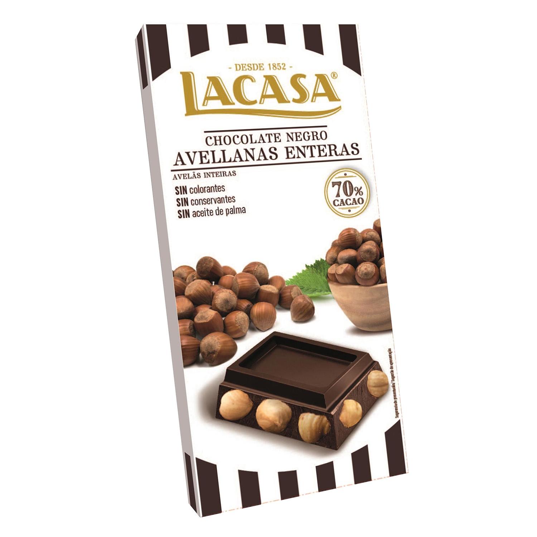 Chocolate negro 70% con avellanas enteras Lacasa 200 g.