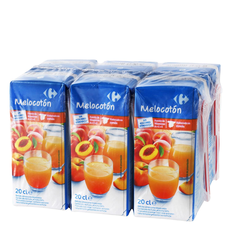Bebida de melocotón Carrefour sin azúcar pack de 6 briks de 20 cl.