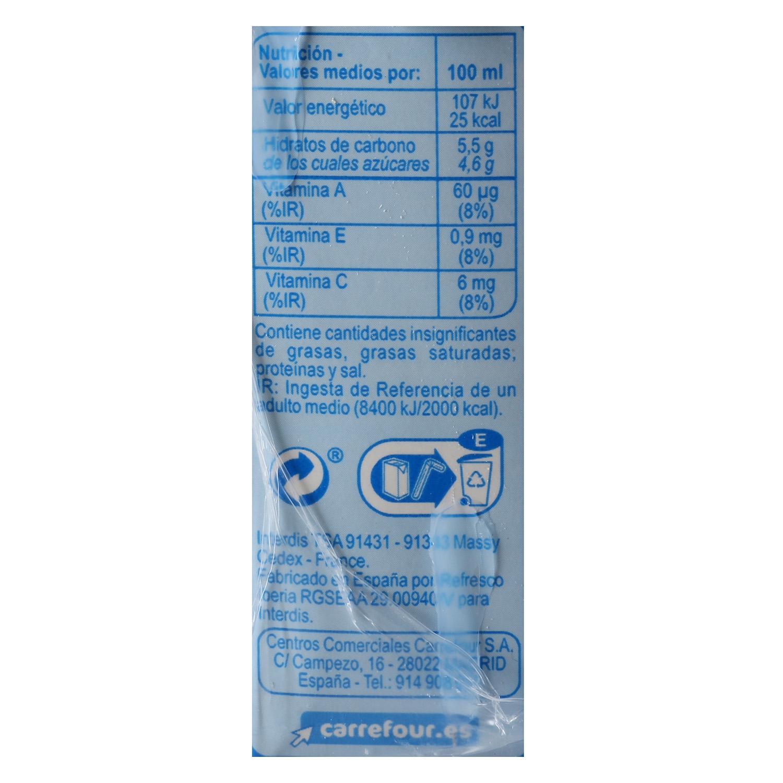 Bebida de melocotón Carrefour sin azúcar pack de 6 briks de 20 cl. -