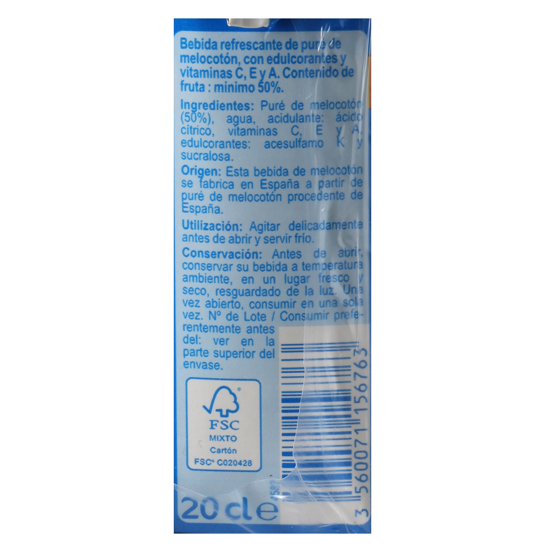 Bebida de melocotón Carrefour sin azúcar pack de 6 briks de 20 cl. - 2