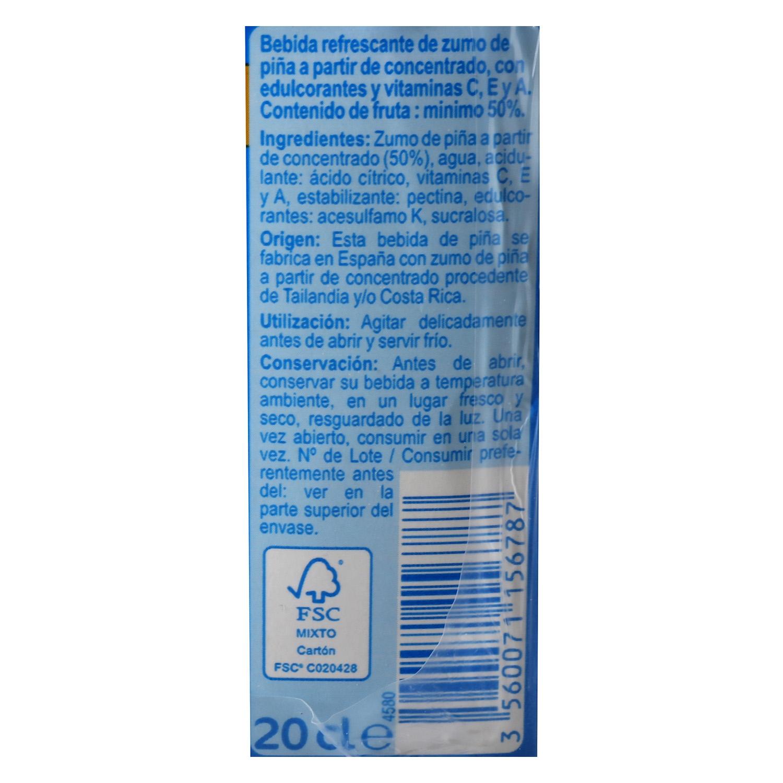 Bebida de piña Carrefour sin azúcar pack de 6 briks de 20 cl. - 2
