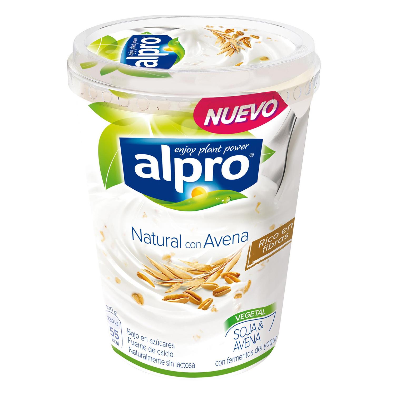 Yogur natural sin lactosa con soja y avena