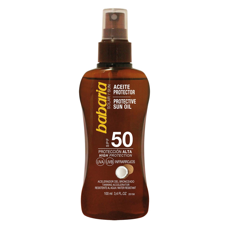 Aceite protector solar coco SPF 50 Babaria 100 ml.