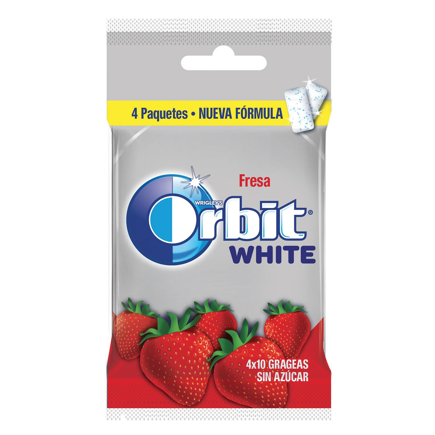 Chicles sabor fresa White Orbit 4 paquetes de 10 ud.
