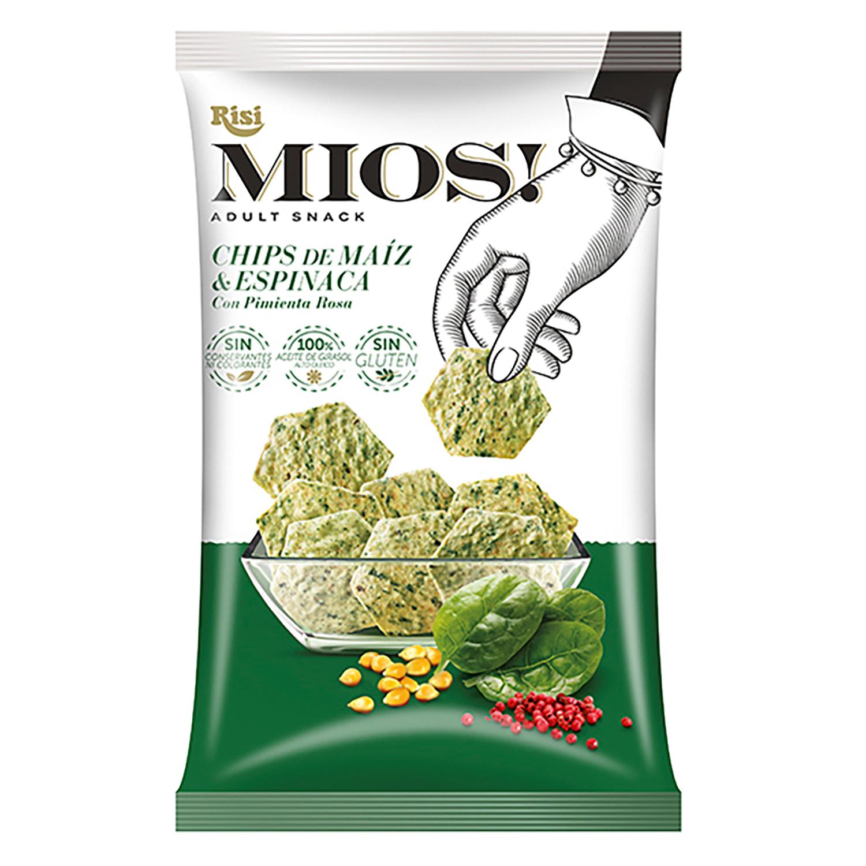 Chips de maíz y espinacas sin gluten