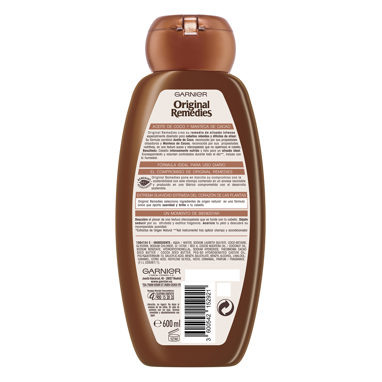 Champú de aceite de coco y manteca de cacao Original Remedies Garnier 600 ml.  -