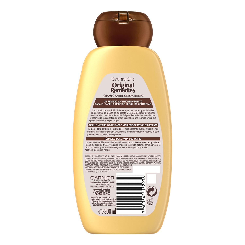 Champú antiencrespamiento con aceite de aguacate Original Remedies 300 ml. -