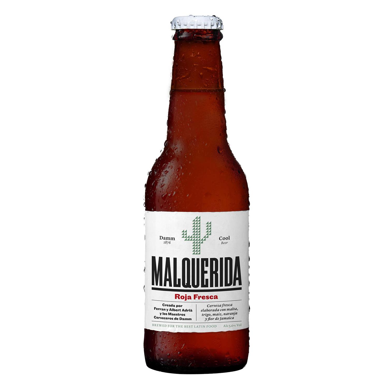 Cerveza Damm Malquerida roja fresca botella 25 cl.