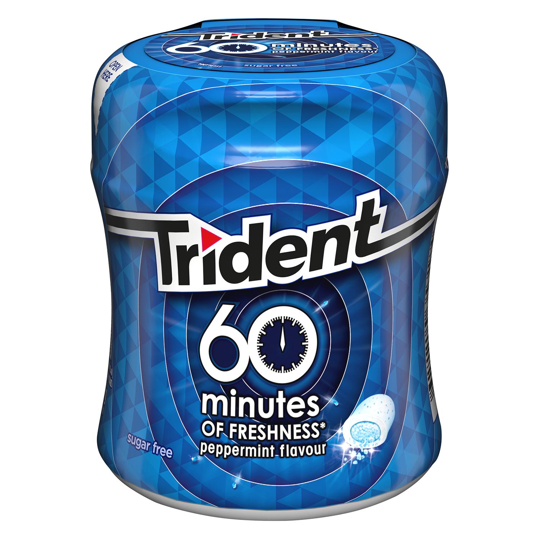 Chicles sabor menta 60 minutos Trident 72 g.