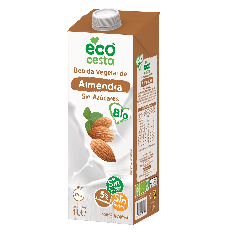 Bebida de almendra sin azúcares añadidos ecológica Ecocesta sin gluten brik 1 l.