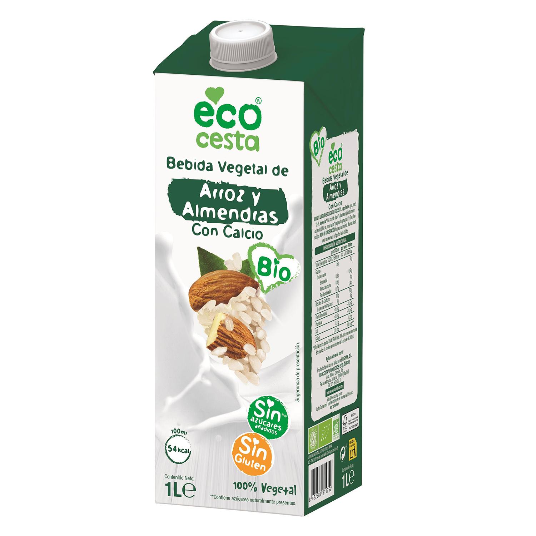 Bebida de arroz y almendras ecológica Ecocesta con calcio sin azúcares añadidos sin gluten brik 1 l.