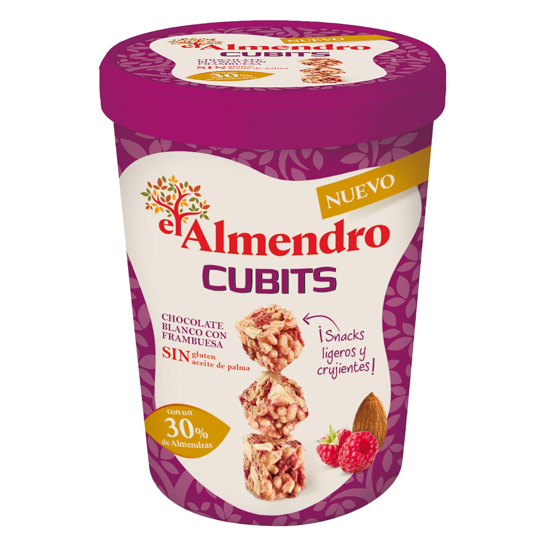 Cubits de chocolate blanco con frambuesa sin gluten y sin aceite de palma