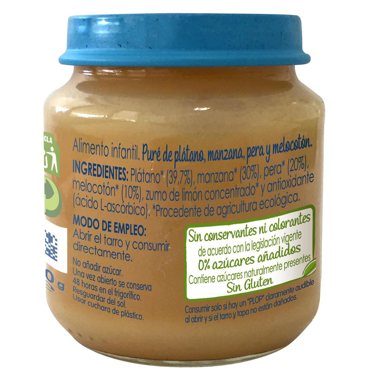 Tarrito plátano, manzana, pera y melocotón bio -