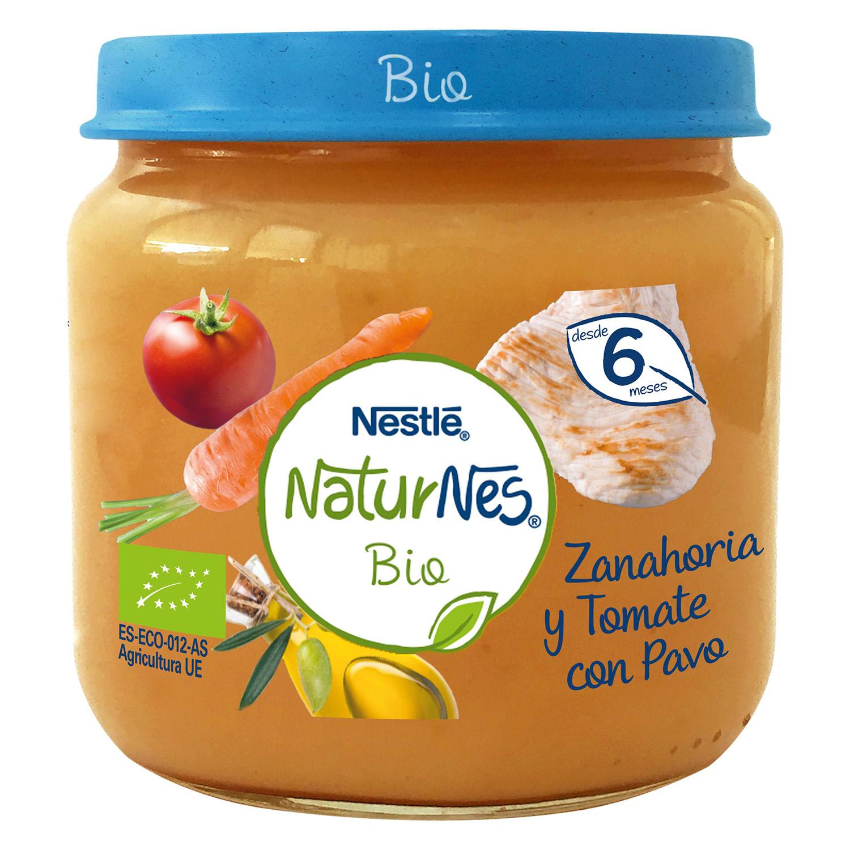 Tarrito de zanahoria y tomate con pavo desde 6 meses sin azúcar añadido ecológico Nestlé Naturnes sin gluten 200 g.